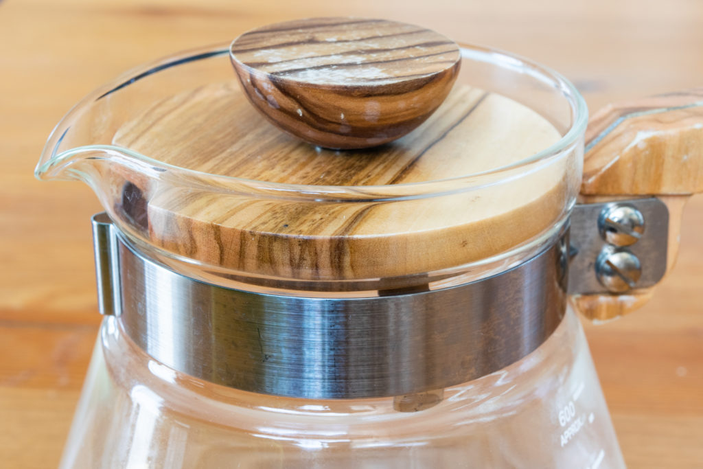 ハリオのコーヒーサーバーのステンレス製金具(オリーブウッド)