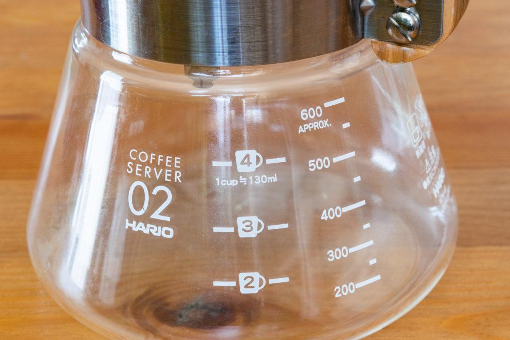 ハリオのコーヒーサーバーのメモリ(オリーブウッド)